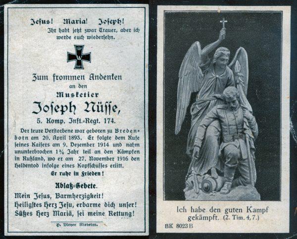 1916: Todesanzeige Joseph Nüsse